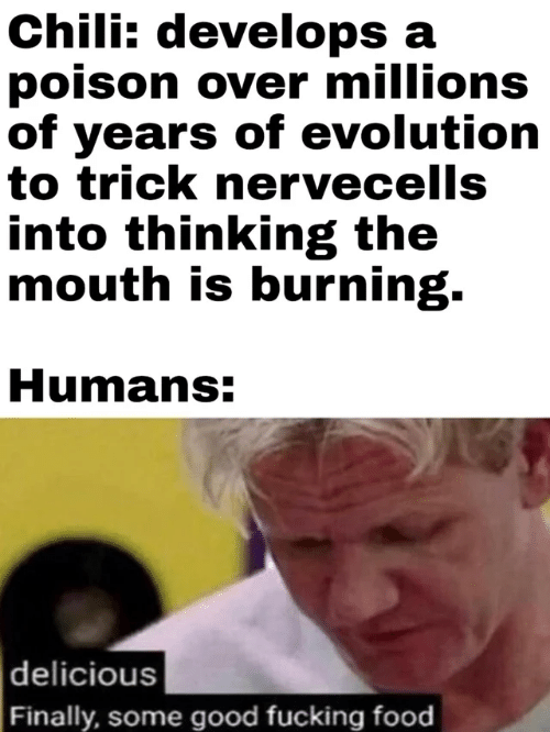 Trick: Chili: develops a  poison over millions  of years of evolution  to trick nervecells  into thinking the  mouth is burning.  Humans:  delicious  Finally, some good fucking food