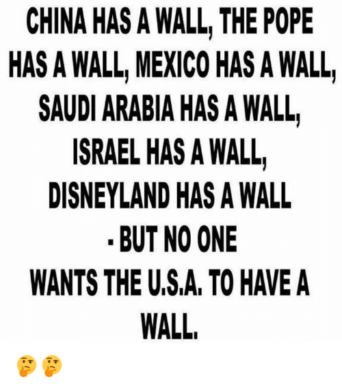 walls: CHINA HAS A WALL THE POPE  HAS A WALL, MEXICO HAS A WALL  SAUDI ARABIA HAS A WALL  ISRAEL HAS A WALL  DISNEYLAND HAS A WALL  BUT NO ONE  WANTS THE USA, TOHAVEA  WALL, 🤔🤔