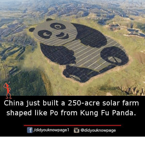 Kung Fu Panda: China just built a 250-acre solar farm  shaped like Po from Kung Fu Panda  /didyouknowpagel  @didyouknowpage