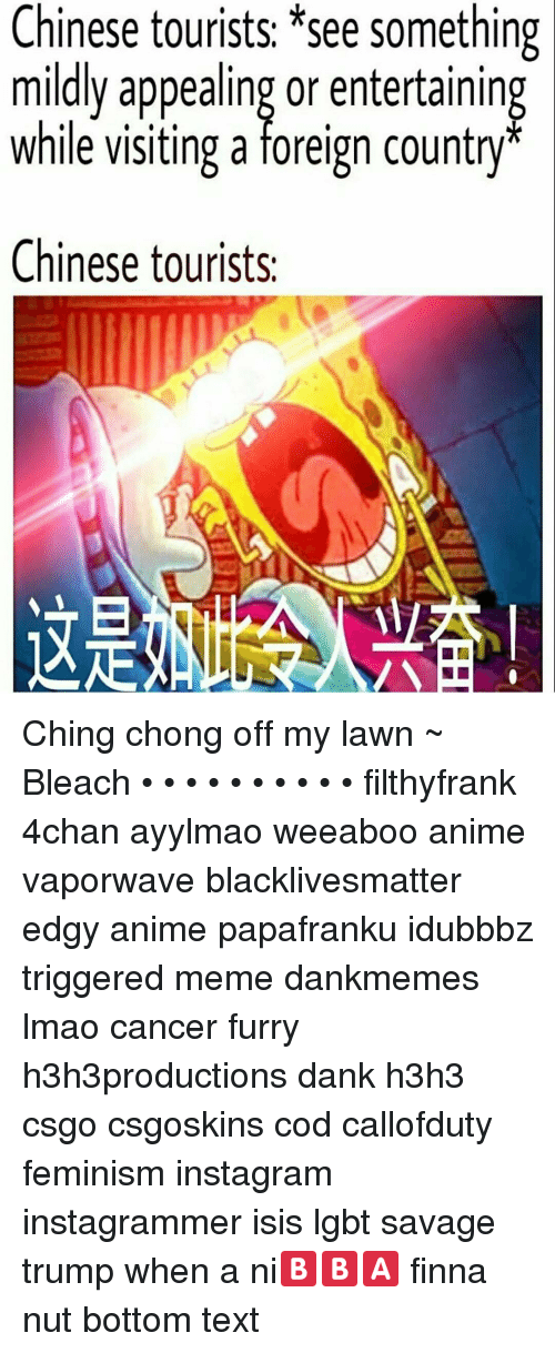 Trigger Meme: Chinese tourists *see something  mildly appealing or entertaining  while visiting a foreign country  Chinese tourists. Ching chong off my lawn ~ Bleach • • • • • • • • • • filthyfrank 4chan ayylmao weeaboo anime vaporwave blacklivesmatter edgy anime papafranku idubbbz triggered meme dankmemes lmao cancer furry h3h3productions dank h3h3 csgo csgoskins cod callofduty feminism instagram instagrammer isis lgbt savage trump when a ni🅱🅱🅰 finna nut bottom text
