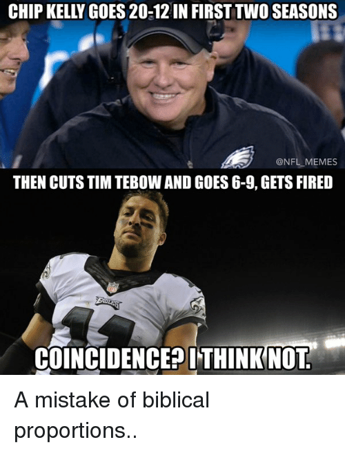 Chip Kelly: CHIP KELLY GOES 20-12IN FIRST TWO SEASONS  @NFL MEMES  THEN CUTS TIM TEBOW AND GOES 6-9, GETS FIRED  COINCIDENCE? ITHINK NOT A mistake of biblical proportions..