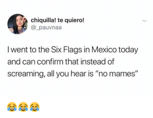 """flags: chiquilla! te quiero!  @_pauvnaa  I went to the Six Flags in Mexico today  and can confirm that instead of  screaming, all you hear is """"no mames"""" 😂😂😂"""