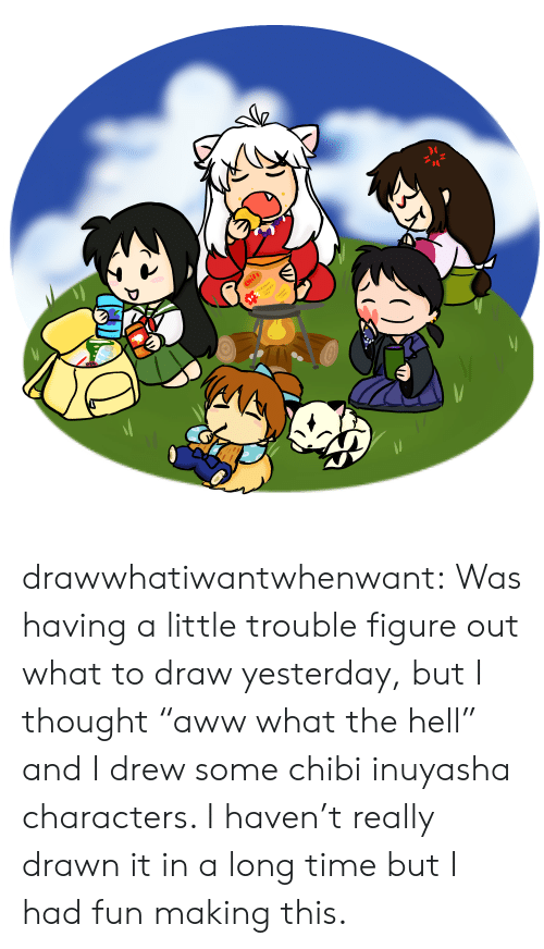 """But I Thought: Chits drawwhatiwantwhenwant:  Was having a little trouble figure out what to draw yesterday, but I thought """"aww what the hell"""" and I drew some chibi inuyasha characters. I haven't really drawn it in a long time but I had fun making this."""