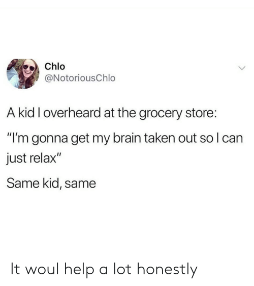 "just relax: Chlo  @NotoriousChlo  A kid I overheard at the grocery store:  ""I'm gonna get my brain taken out so I can  just relax""  Same kid, same It woul help a lot honestly"