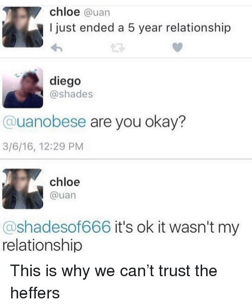 uan: chloe @uan  I just ended a 5 year relationship  diego  @shades  @uanobese are you okay?  3/6/16, 12:29 PM  chloe  @uan  @shadesof666 it's ok it wasn't my  relationship This is why we can't trust the heffers