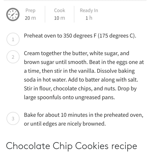chocolate chip cookies: Chocolate Chip Cookies recipe