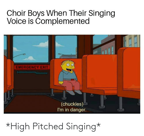 choir boys: Choir Boys When Their Singing  Voice is Čomplemented  EMERGENCY EXIT  (chuckles)  I'm in danger. *High Pitched Singing*