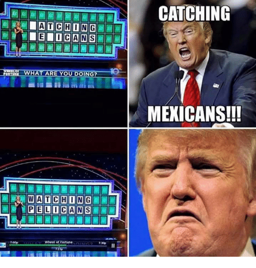 wheel of fortune: CHONG  HAT ARE YOU DOING?  WATCH ONG  PIE LOC ANSI  Wheel of Fortune  IN  CATCHING  MEXICANS!!!