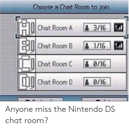 nintendo ds: Choose a Chat Room to join  o!Chat Room, A  1.3/16/  Chat Room B 1/16  Chat Room C 8/16  Chat Room D 8,16 Anyone miss the Nintendo DS chat room?