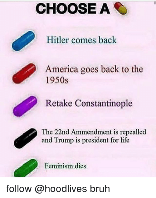 America, Bruh, and Feminism: CHOOSE A  Hitler comes back  America goes back to the  1950s  Retake Constantinople  The 22nd Ammendment is repealled  and Trump is president for life  Feminism dies follow @hoodlives bruh