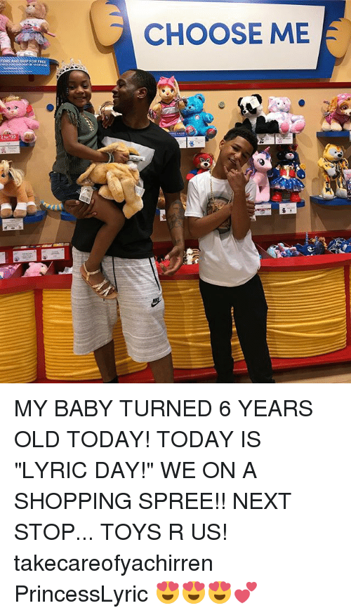 """lyrical: CHOOSE ME  HIP FOR  2 for 35 MY BABY TURNED 6 YEARS OLD TODAY! TODAY IS """"LYRIC DAY!"""" WE ON A SHOPPING SPREE!! NEXT STOP... TOYS R US! takecareofyachirren PrincessLyric 😍😍😍💕"""