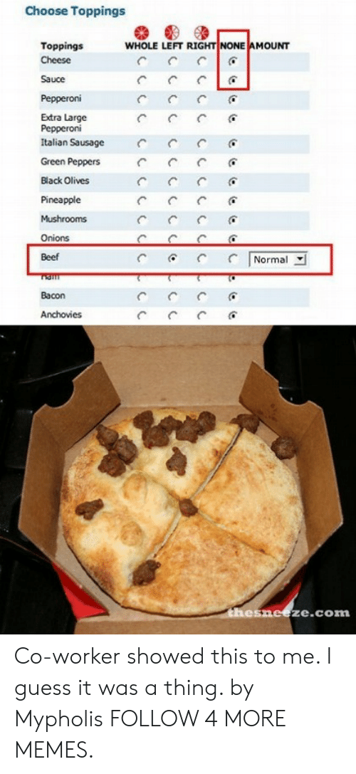mushrooms: Choose Toppings  WHOLE LEFT RIGHT NONE AMOUNT  Toppings  Cheese  Sauce  Pepperoni  Extra Large  Pepperoni  Italian Sausage  Green Peppers  Black Olives  Pineapple  Mushrooms  Onions  Normal  Beef  Bacon  Anchovies  C  thesneeze.com Co-worker showed this to me. I guess it was a thing. by Mypholis FOLLOW 4 MORE MEMES.
