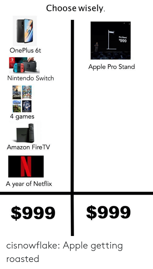 Nintendo Switch : Choose wisely  Pro Stand  $999  OnePlus 6t  Apple Pro Stand  Nintendo Switch  ZZELDA  4 games  Amazon FireTV  A year of Netflix  $999  $999 cisnowflake:  Apple getting roasted
