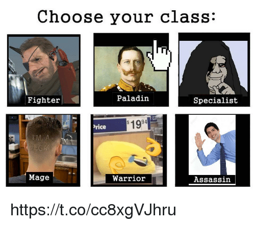 Paladin: Choose your class:  Fighter  Paladin  Specialist  1994  rice  Mage  Warrior  Assassin https://t.co/cc8xgVJhru