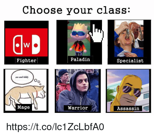 Paladin: Choose your class:  Fighter  Paladin  Specialist  ass and tiddy  Oo  Mage  Warrior  Assassin https://t.co/lc1ZcLbfA0