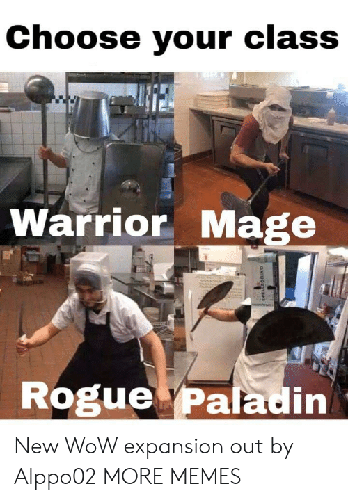Paladin: Choose your class  Te  Warrior Mage  Rogue Paladin New WoW expansion out by Alppo02 MORE MEMES