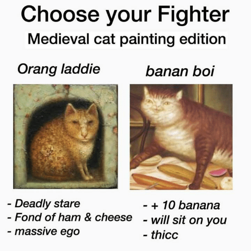 fond: Choose your Fighter  Medieval cat painting edition  Orang laddie  banan boi  Deadly stare  - Fond of ham & cheese  - massive ego  - 10 banana  - will sit on you  - thicc