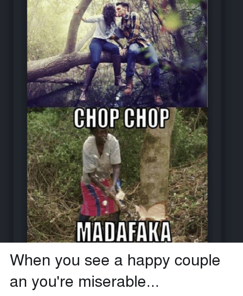 Happy, Girl Memes, and Happiness: CHOP CHOP  MADAFAKA When you see a happy couple an you're miserable...