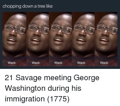 George Washington: chopping down a tree like  Wack  Wack  Wack  Wack  Wack 21 Savage meeting George Washington during his immigration (1775)