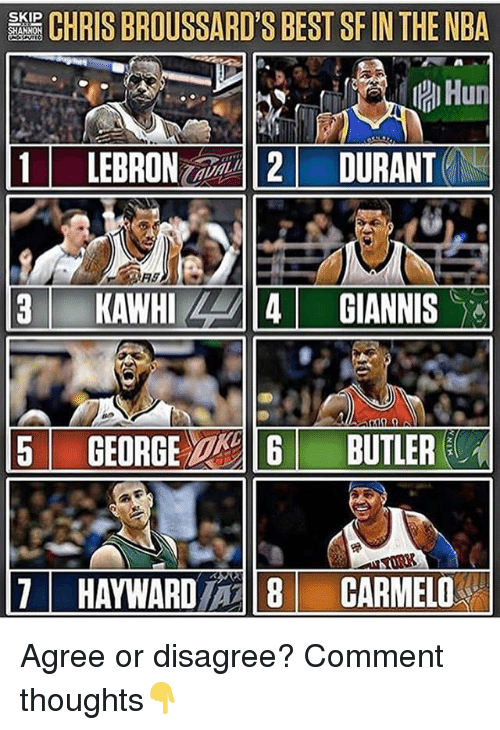 Hayward: CHRIS BROUSSARD'S BEST SF IN THE NBA  Hun  1 LEBRON-2/-112/ DURANTEN  SKIP  5 GEORGE  BUTLER  11  HAYWARD/一18  CARMEL0% Agree or disagree? Comment thoughts👇