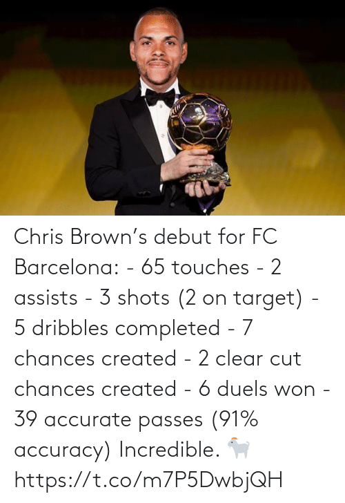 brown: Chris Brown's debut for FC Barcelona:  - 65 touches - 2 assists - 3 shots (2 on target) - 5 dribbles completed  - 7 chances created  - 2 clear cut chances created  - 6 duels won  - 39 accurate passes (91% accuracy)  Incredible. 🐐 https://t.co/m7P5DwbjQH