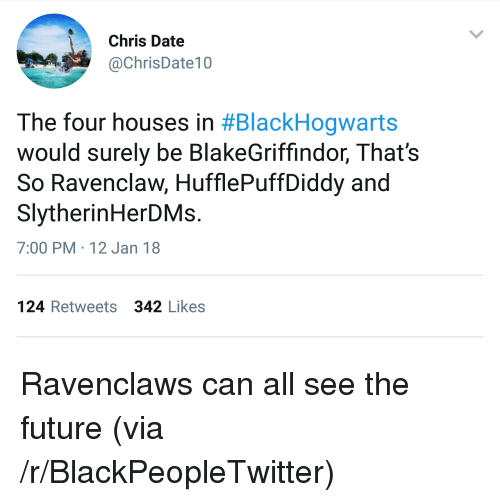 Blackpeopletwitter, Future, and Date: Chris Date  @ChrisDate10  The four houses in #BlackHogwarts  would surely be BlakeGriffindor, That's  So Ravenclaw, HufflePuffDiddy and  SlytherinHerDMs.  7:00 PM 12 Jan 18  124 Retweets 342 Likes <p>Ravenclaws can all see the future (via /r/BlackPeopleTwitter)</p>