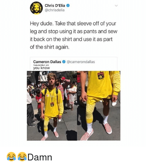 Dude, Memes, and Dallas: Chris D'Elia  @chrisdelia  Hey dude. Take that sleeve off of your  leg and stop using it as pants and sew  it back on the shirt and use it as part  of the shirt again.  Cameron Dallas@camerondallas  you know 😂😂Damn