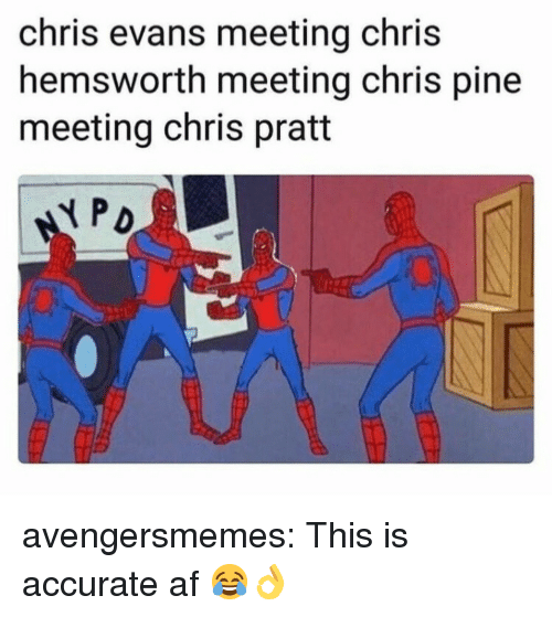 Chris Hemsworth: chris evans meeting chris  hemsworth meeting chris pine  meeting chris pratt  弋PO avengersmemes:  This is accurate af 😂👌