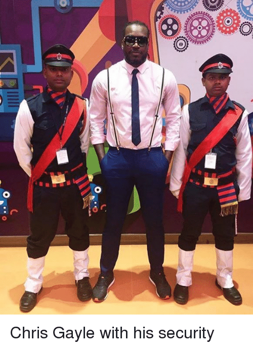 Gayle: Chris Gayle with his security