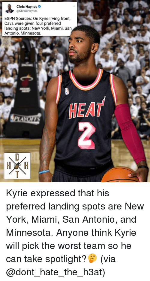 Cavs, Espn, and Kyrie Irving: Chris Hayneso  @ChrisBHaynes  ESPN Sources: On Kyrie Irving front,  Cavs were given four preferred  landing spots: New York, Miami, San  Antonio, Minnesota  HEAT Kyrie expressed that his preferred landing spots are New York, Miami, San Antonio, and Minnesota. Anyone think Kyrie will pick the worst team so he can take spotlight?🤔 (via @dont_hate_the_h3at)