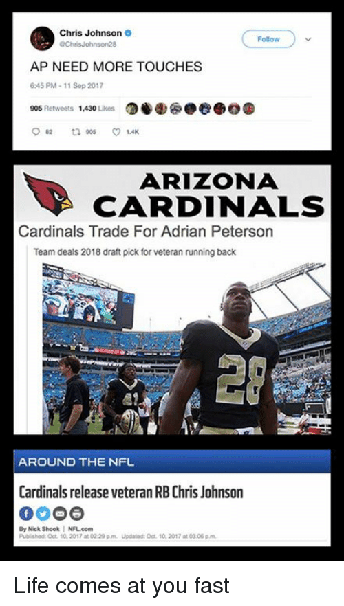 Adrian Peterson, Arizona Cardinals, and Life: Chris Johnson  Follow  AP NEED MORE TOUCHES  6:45 PM-11 Sep 2017  905 Retweets 1,430 ikes0  ARIZONA  CARDINALS  Cardinals Trade For Adrian Peterson  Team deals 2018 draft pick for veteran running back  20  S1  AROUND THE NFL  Cardinals release veteran RB Chris Johnson  By Nick Shook NFL.com  Published: Oct 10, 2017 at 02 29 pm Updated: Oct 10, 2017 at 03.06 p.m Life comes at you fast