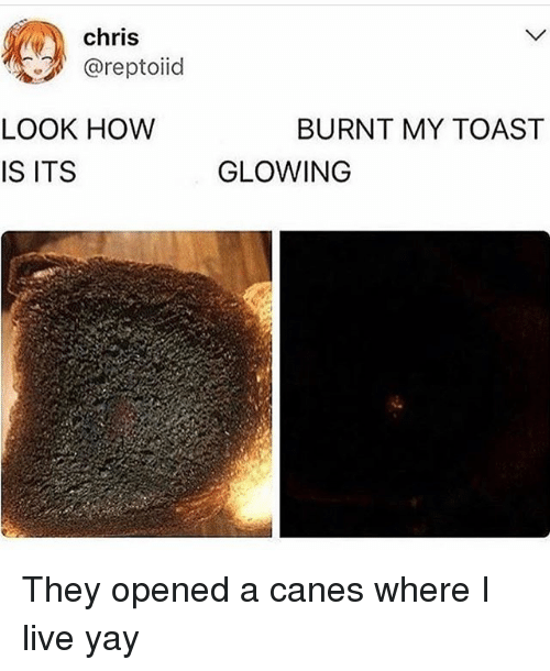 Live, Girl Memes, and Toast: chris  @reptoiid  LOOK HOW  IS ITS  BURNT MY TOAST  GLOWING They opened a canes where I️ live yay