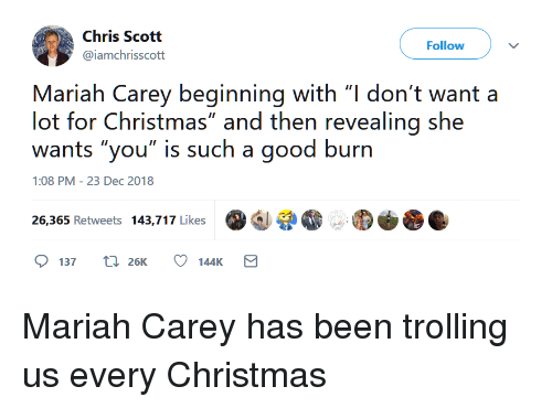 """Trolling: Chris Scott  @iamchrisscott  Follow  Mariah Carey beginning with """"l don't want a  lot for Christmas"""" and then revealing she  wants """"you"""" is such a good burn  1:08 PM-23 Dec 2018  증.  26,365 Retweets 143,717 Like  137 t 26K 144K Mariah Carey has been trolling us every Christmas"""