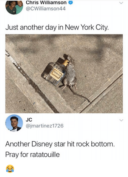 Ratatouille: Chris Williamson  @CWilliamson44  Just another day in New York City  JC  @jmartinez1726  Another Disney star hit rock bottom  Pray for ratatouille 😂