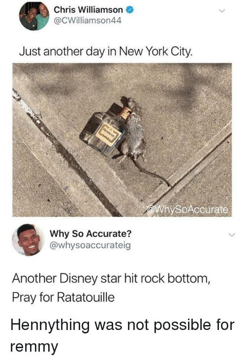 Ratatouille: Chris Williamson  @CWilliamson44  Just another day in New York City.  WhySoAccurate  Why So Accurate?  @whysoaccurateig  Another Disney star hit rock bottom,  Pray for Ratatouille Hennything was not possible for remmy