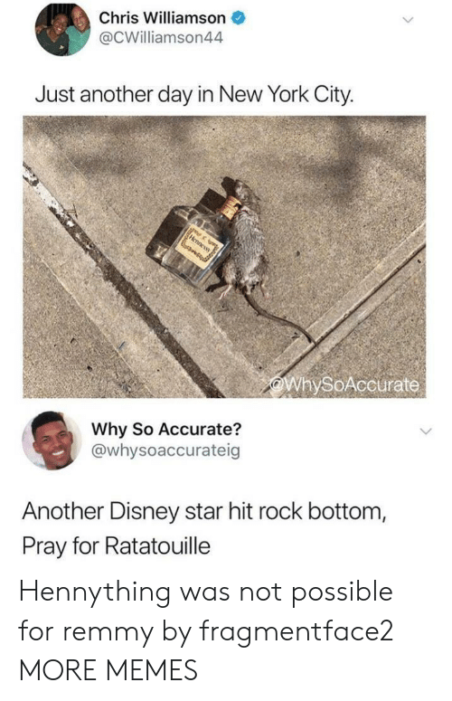 Ratatouille: Chris Williamson  @CWilliamson44  Just another day in New York City.  WhySoAccurate  Why So Accurate?  @whysoaccurateig  Another Disney star hit rock bottom,  Pray for Ratatouille Hennything was not possible for remmy by fragmentface2 MORE MEMES
