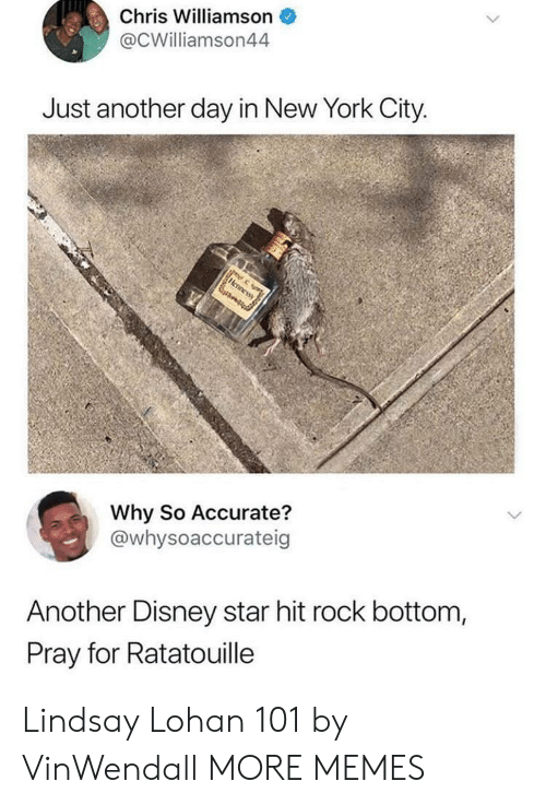 Ratatouille: Chris Williamson  @CWilliamson44  Just another day in New York City  Why So Accurate?  @whysoaccurateig  Another Disney star hit rock bottom,  Pray for Ratatouille Lindsay Lohan 101 by VinWendall MORE MEMES