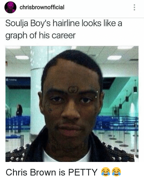 Chris Brown, Hairline, and Memes: chrisbrowno  Soulja Boy's hairline looks like a  graph of his career Chris Brown is PETTY 😂😂