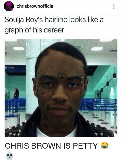 Chris Brown, Hairline, and Soulja Boy: chrisbrowno  Soulja Boy's hairline looks like a  graph of his career CHRIS BROWN IS PETTY 😂💀