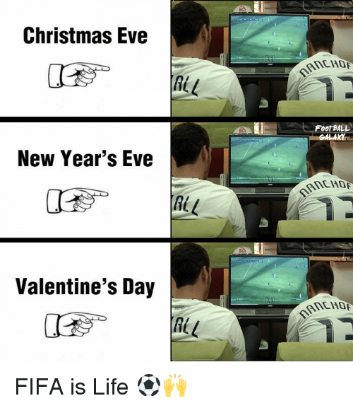 Memes, 🤖, and New Years Eve: Christmas Eve  L  ALL  New Year's Eve  Valentine's Day  FOOTBALL FIFA is Life ⚽🙌