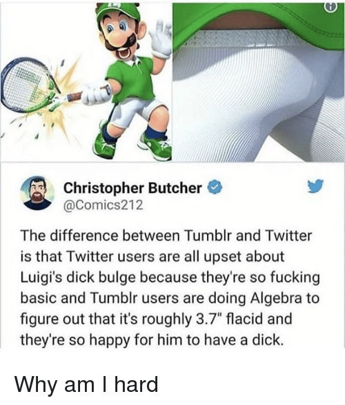 "tumblr users: Christopher Butcher  @Comics212  The difference between Tumblr and Twitter  is that Twitter users are all upset about  Luigi's dick bulge because they're so fucking  basic and Tumblr users are doing Algebra to  figure out that it's roughly 3.7"" flacid and  they're so happy for him to have a dick. Why am I hard"