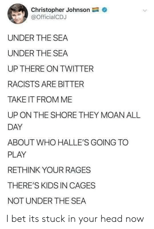 Racists: Christopher Johnson  @OfficialCDJ  UNDER THE SEA  UNDER THE SEA  UP THERE ON TWITTER  RACISTS ARE BITTER  TAKE IT FROM ME  ON THE SHORE THEY MOAN ALL  DAY  ABOUT WHO HALLE'S GOING TO  PLAY  RETHINK YOUR RAGES  THERE'S KIDS IN CAGES  NOT UNDER THE SEA I bet its stuck in your head now