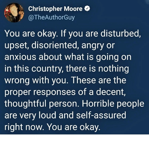 Okay, What Is, and Angry: Christopher Moore  TheAuthorGuy  You are okay. If you are disturbed,  upset, disoriented, angry or  anxious about what is going on  in this country, there is nothing  wrong with you. These are the  proper responses of a decent,  thoughtful person. Horrible people  are very loud and self-assured  right now. You are okay