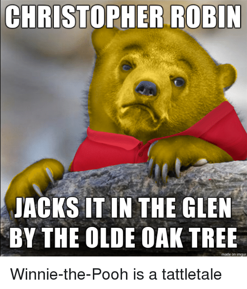 Funny, Winnie the Pooh, and Imgur: CHRISTOPHER ROBIN  JACKS IT IN THE GLEN  BY THE OLDE OAK TREE  made on imgur Winnie-the-Pooh is a tattletale
