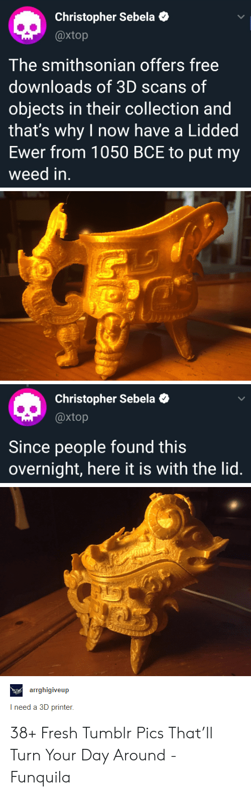 overnight: Christopher Sebela  @xtop  The smithsonian offers free  downloads of 3D scans of  objects in their collection and  that's why I now have a Lidded  Ewer from 1050 BCE to put my  weed in.  Christopher Sebela  @xtop  Since people found this  overnight, here it is with the lid.  aearrghigiveup  I need a 3D printer 38+ Fresh Tumblr Pics That'll Turn Your Day Around - Funquila