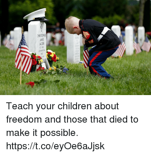 Children, Memes, and Freedom: CHRISTOPHER Teach your children about freedom and those that died to make it possible. https://t.co/eyOe6aJjsk