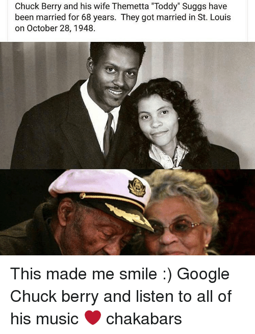 """chuck berry: Chuck Berry and his wife Themetta """"Toddy"""" Suggs have  been married for 68 years. They got married in St. Louis  on October 28, 1948. This made me smile :) Google Chuck berry and listen to all of his music ❤ chakabars"""