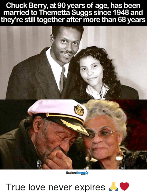 chuck berry: Chuck Berry, at 90 years of age, has been  married to Themetta Suggs since 1948 and  they're still together after more than 68years  ExploreTalent True love never expires 🙏❤