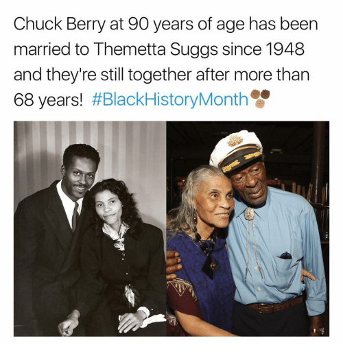 chuck berry: Chuck Berry at 90 years of age has been  married to Themetta Suggs since 1948  and they're still together after more than  68 years!