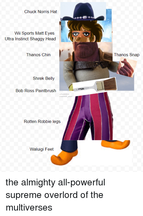 Chuck Norris: Chuck Norris Hat  Wii Sports Matt Eyes  Ultra Instinct Shaggy Head  Thanos Chin  Thanos Snap  Shrek Belly  Bob Ross Paintbrush  Rotten Robbie legs j  Waluigi Feet the almighty all-powerful supreme overlord of the multiverses